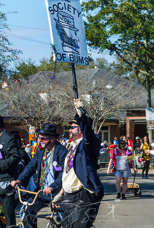 Members of the Society of Bums march down Washington Street in downtown Mobile, Ala., during the Joe Cain Procession at Mardi Gras, March 2, 2014. French settlers held the first Mardi Gras in 1703, making Mobile's celebration the oldest Mardi Gras in the United States. (Photo by Carmen K. Sisson/Cloudybright)
