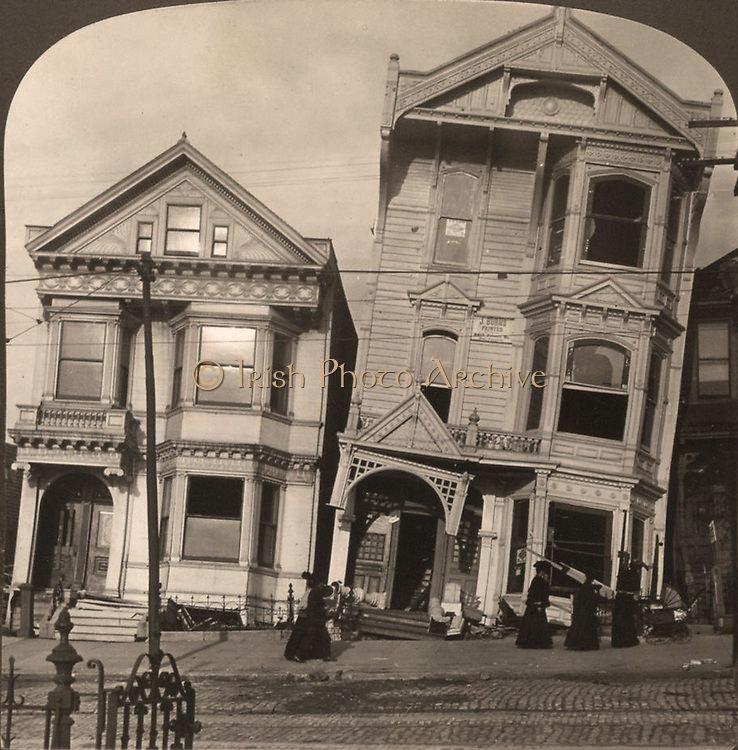 fter the earthquake - frame houses tumbled from their foundations, San Francisco Disaster, U.S.A. c1907 July 29. Medium: 1 photographic print on stereo card : stereograph. shows two Victorian houses that have fallen off of their foundations after the San Francisco earthquake in 1906.