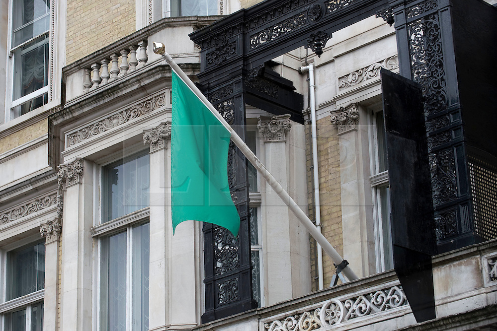 © licensed to London News Pictures.  29/07/2011. London, UK. The old Libyan flag of the Gaddafi regime still lying outside the Libyan Embassy in London today (29/07/2011). Today is the deadline for the charges d'affaires, the most senior Libyan representative in the UK, to leave the country. Britain has granted political recognition to the Libyan opposition the deadline for the Charges. Photo credit: Ben Cawthra/LNP