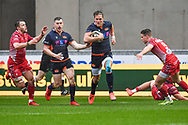 Duhan van der Merwe of Edinburgh runs in to scribe Edinburghs first try<br /> <br /> Photographer Craig Thomas/Replay Images<br /> <br /> Guinness PRO14 Round 11 - Scarlets v Edinburgh - Saturday 15th February 2020 - Parc y Scarlets - Llanelli<br /> <br /> World Copyright © Replay Images . All rights reserved. info@replayimages.co.uk - http://replayimages.co.uk