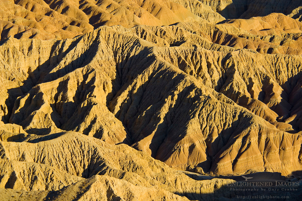 Sunset light on eroded hills at the Borrego Badlands, from Fonts Point, Anza Borrego Desert State Park, San Diego County, California