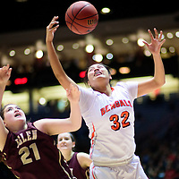 031015  Adron Gardner/Independent<br /> <br /> Belen Eagle Amanda Menchaca (21), left, and Gallup Bengal Cheyenne Livingston (32)  vie for a rebound during the New Mexico state basketball tournament at The Pit in Albuquerque Tuesday.