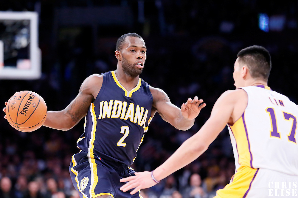 04 January 2014: Indiana Pacers guard Rodney Stuckey (2) dribbles during the Los Angeles Lakers 88-87 victory over the Indiana Pacers, at the Staples Center, Los Angeles, California, USA.