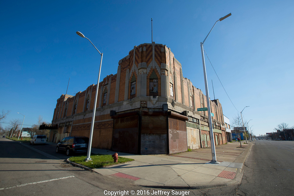 The Vanity Ballroom Building on Jefferson Avenue in the Jefferson-Chalmers Historic Business District and neighborhood in Detroit, Michigan, Wednesday, April 20, 2016. One of the last, intact ballrooms from Detroit's big band heyday from the 1930s-1950s, it's dance floor was built on springs that compressed under the weight of the crowds. Listed on the National Register of Historic Places in 1982, it was designed in 1929 by Charles N. Agree and hosted major acts like Tommy Dorsey, Jimmy Dorsey, Duke Ellington, Benny Goodman and others. <br /> <br /> On September 7, 2016, The National Trust for Historic Preservation gave the Jefferson-Chalmers neighborhood in Detroit&rsquo;s lower east side the distinction of a National Treasure. This is the first in the state of Michigan and the first project under the National Trust&rsquo;s ReUrbanism initiative. (Photo by Jeffrey Sauger )