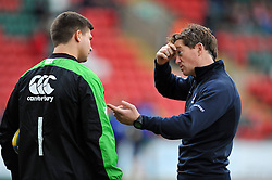 Referee J P Doyle has a word with Leicester Tigers captain Ben Youngs during the pre-match warm-up - Photo mandatory by-line: Patrick Khachfe/JMP - Mobile: 07966 386802 28/03/2015 - SPORT - RUGBY UNION - Leicester - Welford Road - Leicester Tigers v Exeter Chiefs - Aviva Premiership