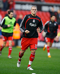 LIVERPOOL, ENGLAND - Saturday, January 26, 2008: Liverpool's Martin Skrtel warms-up before making his debut against Havant and Waterlooville during the FA Cup 4th Round match at Anfield. (Photo by David Rawcliffe/Propaganda)