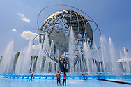 Unisphere, a spherical stainless steel representation of the Earth. Located in Flushing Meadows – Corona Park, Queens, New York City, NY, Designed by landscape architect Gilmore D. Clarke, sunrise