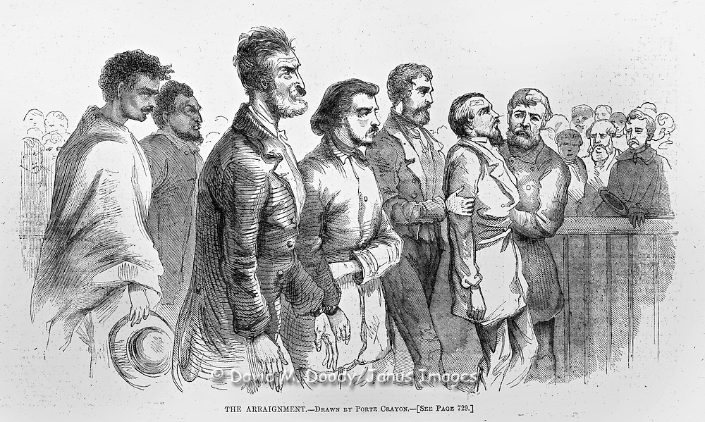 The trial of John Brown and co-conspirators at Charles Town, Pre Civil War Virginia. (now West Virginia)  The effects of John Brown's Invasion of the South to spark a slave rebellion by seizing the arsenal at Harper's Ferry, Virginia (present day West Virginia ), just before the start of the Civil War. Cover of Harper's Weekly November 12, 1859 Illustrations by Porte Crayon (David Hunter Strother)