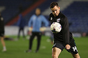 Scunthorpe United striker Tom Hopper (14) warms up before during the EFL Sky Bet League 1 match between Oldham Athletic and Scunthorpe United at Boundary Park, Oldham, England on 18 October 2016. Photo by Simon Brady.