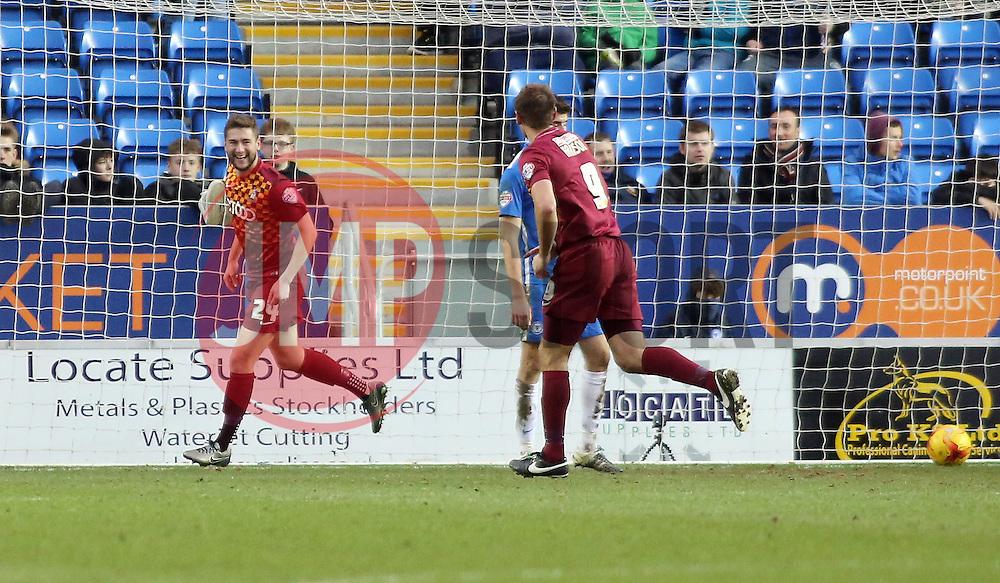 Bradford City's Steven Davies (left) celebrates scoring his goal which makes the score 4-0 - Mandatory byline: Joe Dent/JMP - 13/02/2016 - FOOTBALL - ABAX Stadium - Peterborough, England - Peterborough United v Bradford City - Sky Bet Championship