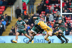 Jimmy Gopperth of Wasps tackles Telusa Veainu of Leicester Tigers - Mandatory by-line: Arron Gent/JMP - 15/02/2020 - RUGBY - Welford Road Stadium - Leicester, England - Leicester Tigers v Wasps - Gallagher Premiership Rugby
