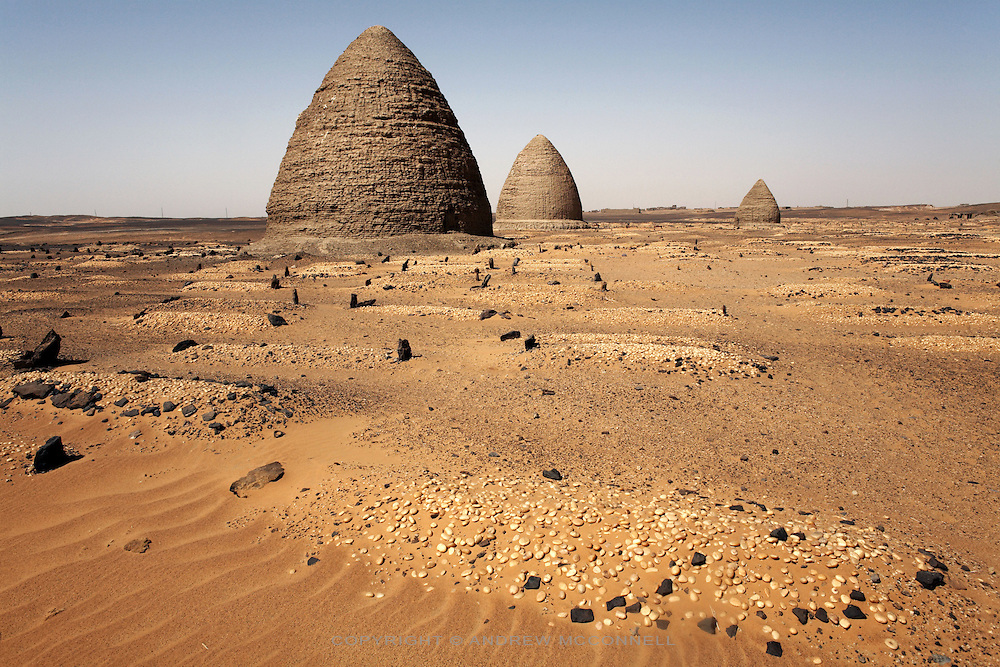 A cemetery in the desert surrounding the medieval city of Old Dongola, Sudan, on Monday, March 26, 2007. Old Dongola was the capital of the Christian kingdon of Makuria which, from the 7th to the 14th centuries, controlled the river Nile from the First Cataract southwards, possibly as far as Atbara.