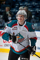 KELOWNA, CANADA - MARCH 7:  Lucas Johansen #7 of Kelowna Rockets warms up against the Spokane Chiefs on March 7, 2015 at Prospera Place in Kelowna, British Columbia, Canada.  (Photo by Marissa Baecker/Shoot the Breeze)  *** Local Caption *** Lucas Johansen;