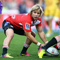 JOHANNESBURG, SOUTH AFRICA - APRIL 30: Faf de Klerk of the Emirates Lions looking for the ball during the Super Rugby match between Emirates Lions and Hurricanes at Emirates Airline Park on April 30, 2016 in Johannesburg, South Africa. (Photo by Steve Haag/Gallo Images)