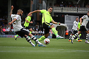 Ashley (Jazz) Richards clearing from Beram Kayal during the Sky Bet Championship match between Fulham and Brighton and Hove Albion at Craven Cottage, London, England on 15 August 2015. Photo by Matthew Redman.