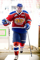 KELOWNA, CANADA, FEBRUARY 15: Curtis Lazar #27 of the Edmonton OIl Kings exits the ice after warm up at the Kelowna Rockets on February 15, 2012 at Prospera Place in Kelowna, British Columbia, Canada (Photo by Marissa Baecker/Shoot the Breeze) *** Local Caption ***