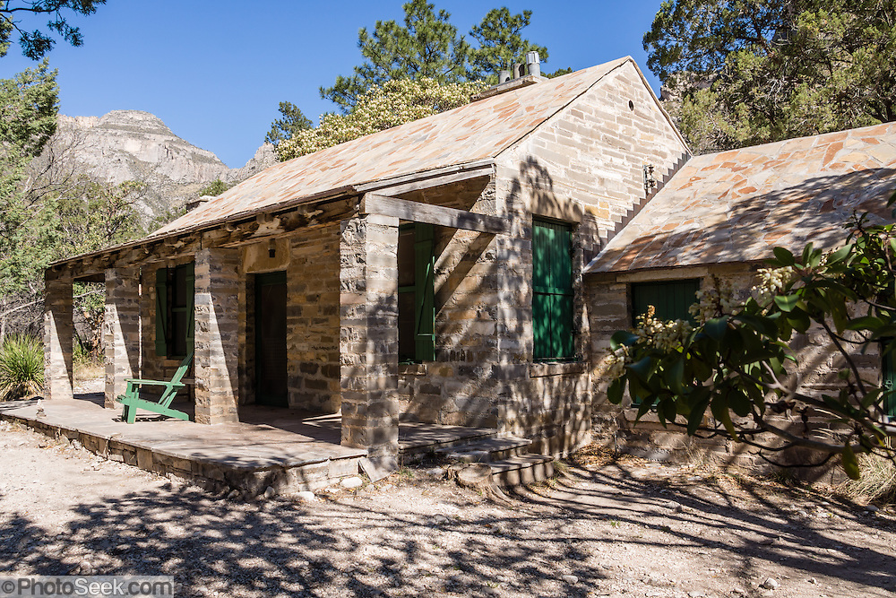 Pratt Cabin (built 1932, donated 1957), along the McKittrick Canyon Trail. Hike some of the most scenic trails in Texas in Guadalupe Mountains National Park, in the Chihuahuan Desert, near El Paso, USA. Hiking the ecologically-diverse McKittrick Canyon in Guadalupe Mountains NP is best when fall foliage turns color.