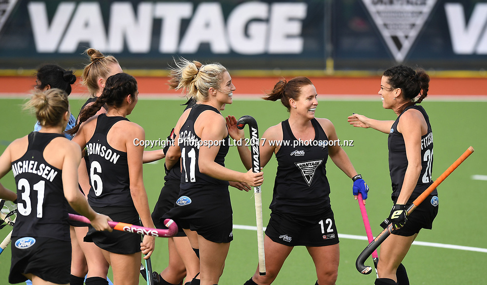 Players celebrate a goal.<br /> Vantage Black Sticks Women vs India. International Hockey. Gallagher Hockey Centre. Hamilton. New Zealand. Friday 19 May 2017 &copy; Copyright Photo: Andrew Cornaga / www.photosport.nz