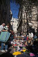 France. Paris. 4th district. Baudoyer square in le marais. vide grenier, Flea market for people / vide grenier place Baudoyer