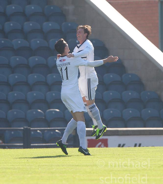 Raith Rovers Grant Anderson (11) cele scoring their goal.<br /> Half time : Raith Rovers 1 v 0 Falkirk, Scottish Championship 28/9/2013.<br /> &copy;Michael Schofield.