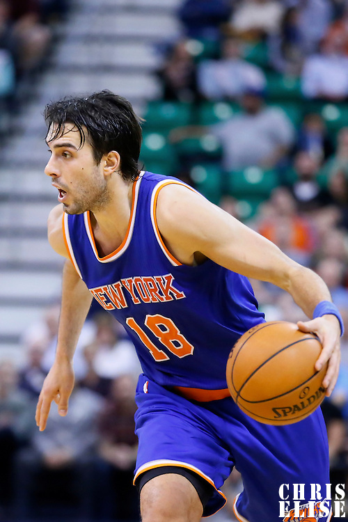 09 December 2015: New York Knicks guard Sasha Vujacic (18) brings the ball up court during the Utah Jazz 106-85 victory over the New York Knicks, at the Vivint Smart Home Arena, Salt Lake City, Utah, USA.