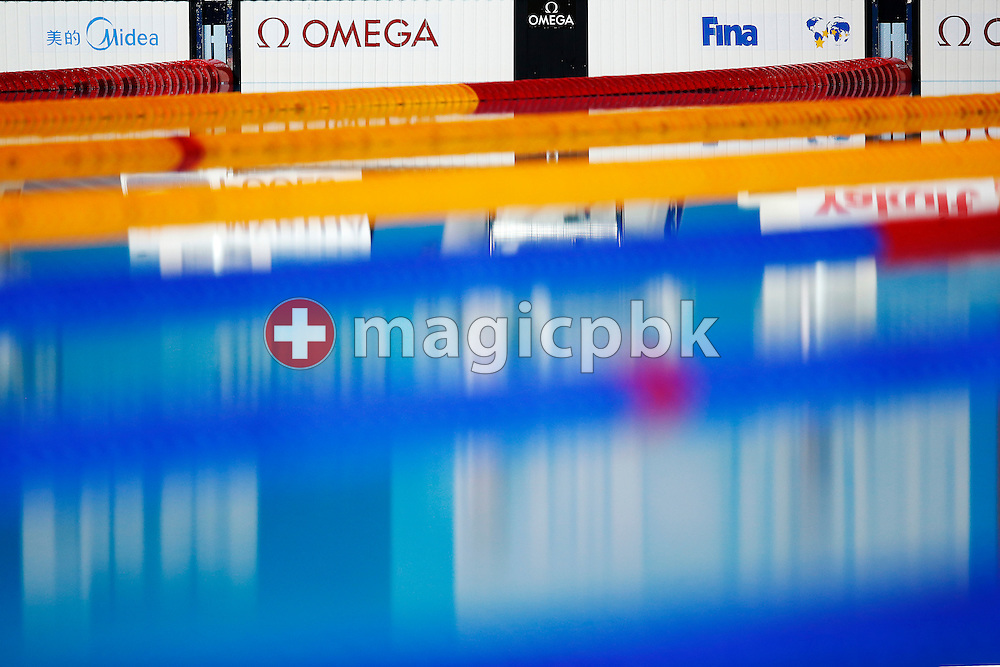 White OMEGA OCP5 Touchpads are pictured during the 15th FINA World Aquatics Championships at the Palau Sant Jordi in Barcelona, Spain, Wednesday, July 31, 2013. (Photo by Patrick B. Kraemer / MAGICPBK)