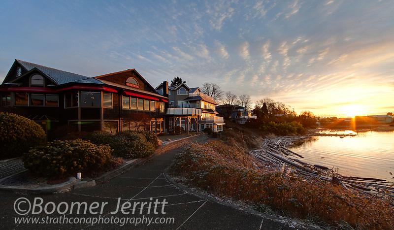 The Blackfin restaurant at sunrise.  Comox, The Comox Valley, Vancouver Island, British Columbia, Canada.