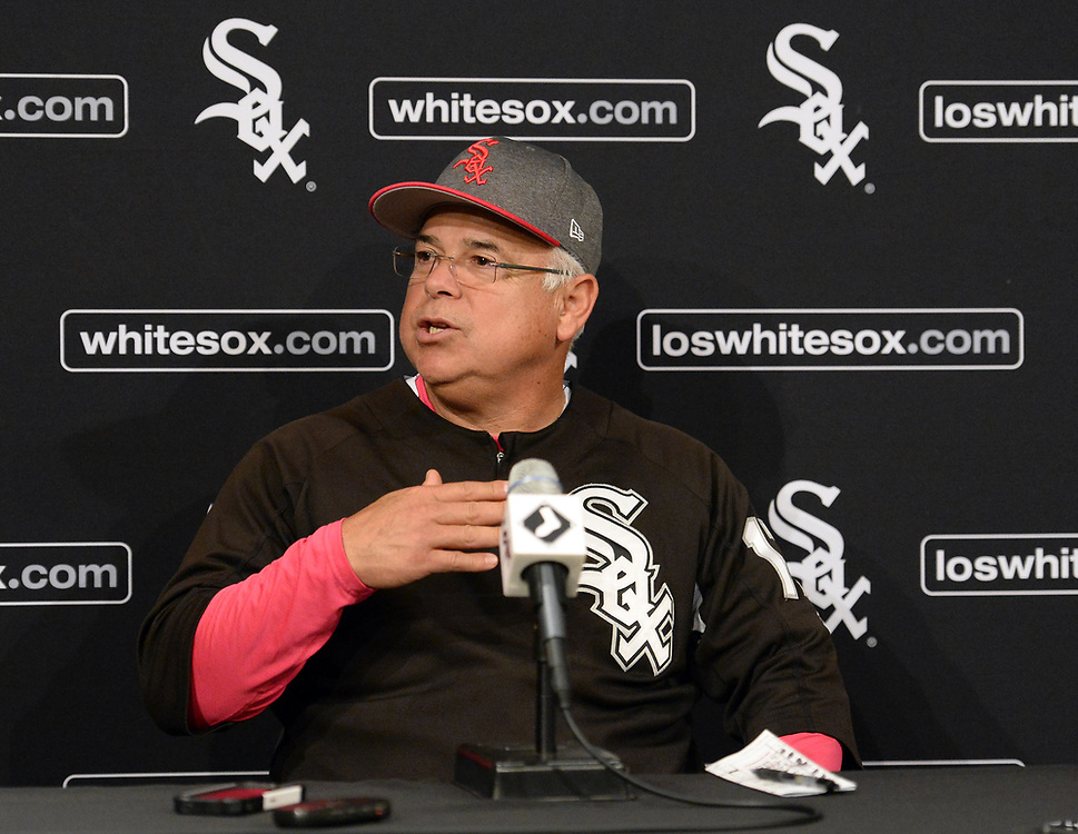 CHICGO - MAY 14:  Manager Rick Renteria #17 of the Chicago White Sox addresses the media after the game against the San Diego Padres on May 14, 2017 at Guaranteed Rate Field in Chicago, Illinois.  The White Sox defeated the Padres 9-3 .  (Photo by Ron Vesely)  Subject: Ricky Renteria