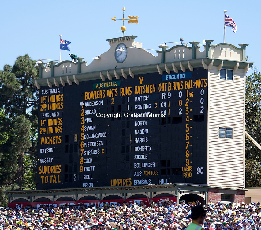 The scoreboard showing Australia three wickets down for two runs after only ten minutes of the second Ashes Test Match against England at the Adelaide Oval. Photo: Graham Morris (Tel: +44(0)20 8969 4192 Email: sales@cricketpix.com) 3/12/10