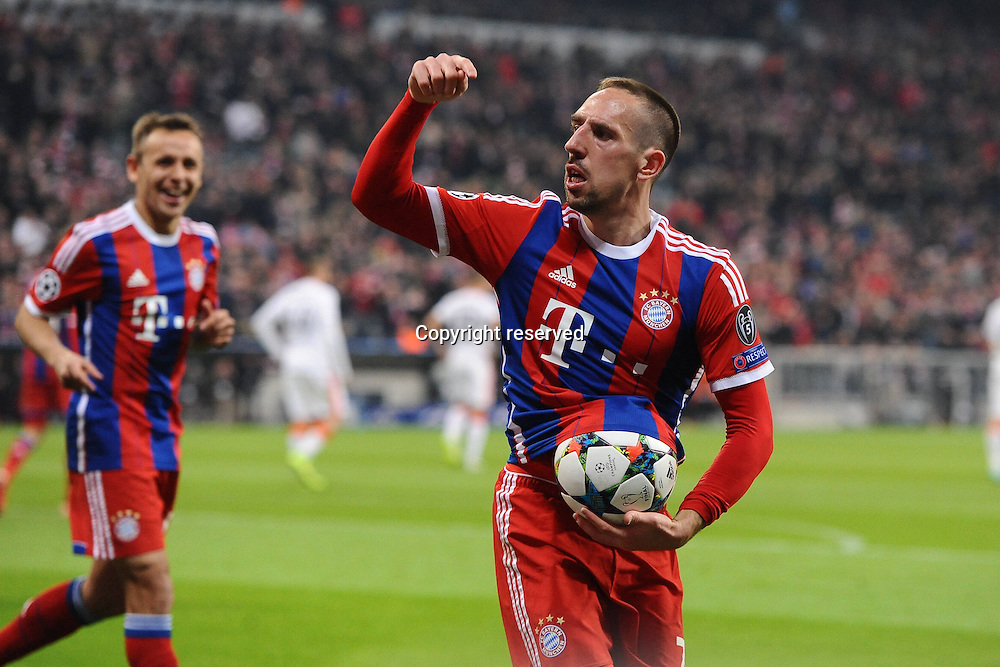 11.03.2015. Allianz Stadium, Munich, Germany. UEFA Champions League football. Bayern Munich versus Shakhtar Donetsk.  Franck Ribery (FC Bayern Muenchen) celebrates his goal for 3:0. The game ended 7-0 to Bayern over Shakhtar.