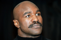 Feb 27, 2007; New York, NY, USA; Former heavyweight champion Evander Holyfield announces his upcoming fight against Vinny Maddalone.  The two will meet on Saturday, March 17th at the American Bank Center in Corpus Christi, TX.