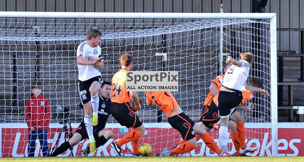 Blackburn loanee Jordan Preston hits a shot towards the Stranraer goal for his current club Ayr United......(c) BILLY WHITE | SportPix.org.uk