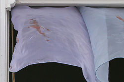 © Licensed to London News Pictures. 07/07/2019. London, UK. Blood stains are seen on the net curtains at a house on Livingstone Road, Bounds Green in Enfield, North London where a woman and three girls were stabbed before noon on Saturday 6 July 2019. According to the Met Police, the condition of the woman, in her 30s, and two girls, both aged under 12 is now stable and non life-threatening after they were treated for serious stab wounds. The third victim aged 11, remains in a critical condition. A man has been arrested on suspicion of attempted murder.  Photo credit: Dinendra Haria/LNP