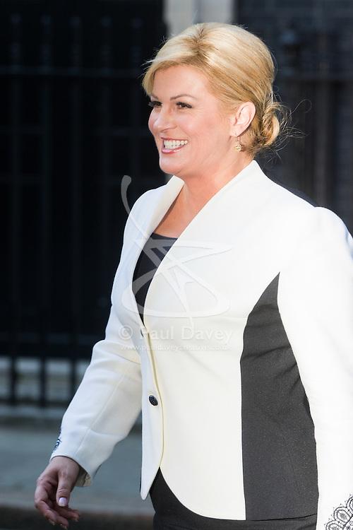Downing Street, London, October 11th 2016. Croatian President Kolinda Grabar-Kitarović leaves 10 Downing Street following a meeting British Prime Minister Theresa May at her official residence.