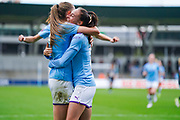 Manchester City Women forward Tessa Wullaert (25) scores a goal and celebrates to make the score 2-0 during the FA Women's Super League match between Manchester City Women and BIrmingham City Women at the Sport City Academy Stadium, Manchester, United Kingdom on 12 October 2019.