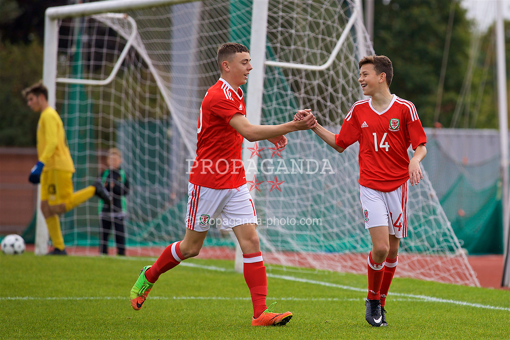 NEWPORT, WALES - Sunday, September 24, 2017: Wales' Owen Beck [R] celebrates scoring the first goal with team-mate Callum King-Harmes during an Under-16 International friendly match between Wales and Gibraltar at the Newport Stadium. (Pic by David Rawcliffe/Propaganda)