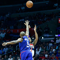 09 December 2017: Washington Wizards guard Bradley Beal (3) takes a jump shot over LA Clippers guard C.J. Williams (9) during the LA Clippers 113-112 victory over the Washington Wizards, at the Staples Center, Los Angeles, California, USA.