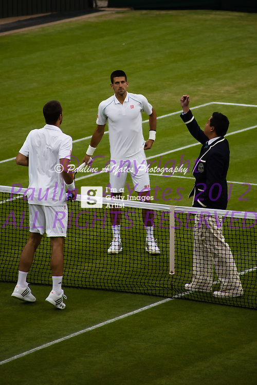 Coin toss to begin play between Djokovic and Troicki - Wimbledon 2012, Day 7