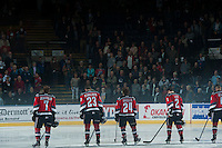 KELOWNA, CANADA - OCTOBER 11: Lucas Johansen #7, Justin Kirkland #23, Tyson Baillie #24, Jesse Lees #2 and Madison Bowey #4 of the Kelowna Rockets line up on the blue line against the Lethbridge Hurricanes on October 11, 2014 at Prospera Place in Kelowna, British Columbia, Canada.   (Photo by Marissa Baecker/Shoot the Breeze)  *** Local Caption *** Lucas Johansen; Justin Kirkland; Tyson Baillie; Jesse Lees;