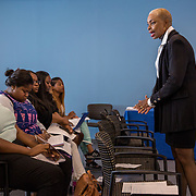 WASHINGTON, DC -JUL22: Irie Harris, leads a workshop on professionalism and workplace skills, to 22-24 year old participants in DC's Student Youth Employment Program, SYEP, at the Department of Employment Services in Northeast, Washington, DC, July 23, 2015. (Photo by Evelyn Hockstein/For The Washington Post)