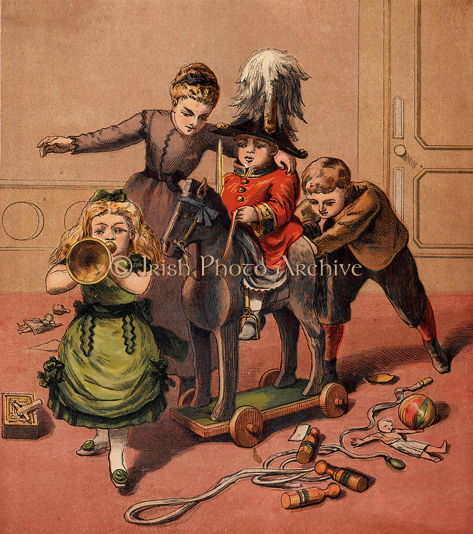 Children playing with toys - Soldier's uniform, horse on wheels, ball, ninepins, skipping rope, rattle, bugle.  Chromolithograph from 'Childhood's Happy Hours' (London, c1870).
