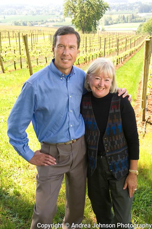 Proprietors Bill and Cathy Stoller at estate vineyard, Stoller Vineyards, Dundee HIlls, Willamette Valley, Oregon