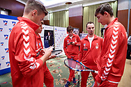 Warsaw, Poland - 2017 December 11: Tennis' trainer coach Radoslaw Szymanik from Poland takes with tennis' players (L) Kacper Zuk and (R) Wojciech Marek  both from Poland while Photo Session of Davis Cup Team of Polish Tennis Association at Regent Hotel on December 11, 2017 in Warsaw, Poland.<br /> <br /> Mandatory credit:<br /> Photo by © Adam Nurkiewicz / Mediasport<br /> <br /> Adam Nurkiewicz declares that he has no rights to the image of people at the photographs of his authorship.<br /> <br /> Picture also available in RAW (NEF) or TIFF format on special request.<br /> <br /> Any editorial, commercial or promotional use requires written permission from the author of image.