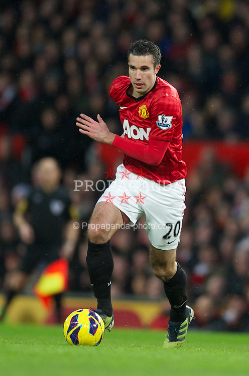 MANCHESTER, ENGLAND - Sunday, February 10, 2013: Manchester United's Robin van Persie in action against Everton during the Premiership match at Old Trafford. (Pic by David Rawcliffe/Propaganda)