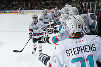KELOWNA, CANADA - DECEMBER 30: Dillon Dube #19 of Kelowna Rockets celebrates a goal against the Kelowna Rockets on December 30, 2015 at Prospera Place in Kelowna, British Columbia, Canada.  (Photo by Marissa Baecker/Shoot the Breeze)  *** Local Caption *** Dillon Dube;