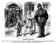 """Obstructives."" Mr Punch (to Bull A 1). ""Yes, it's all very well to say, 'go to school!' How are they to go to school with those people quarrelling in the doorway? Why don't you make 'em 'move on'?"""