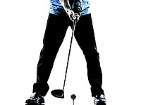 one man golfer golfing in silhouette studio isolated on white background