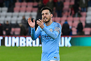 David Silva (21) of Manchester City applauds the City fans at full time after a 1-0 win over Bournemouth during the Premier League match between Bournemouth and Manchester City at the Vitality Stadium, Bournemouth, England on 2 March 2019.