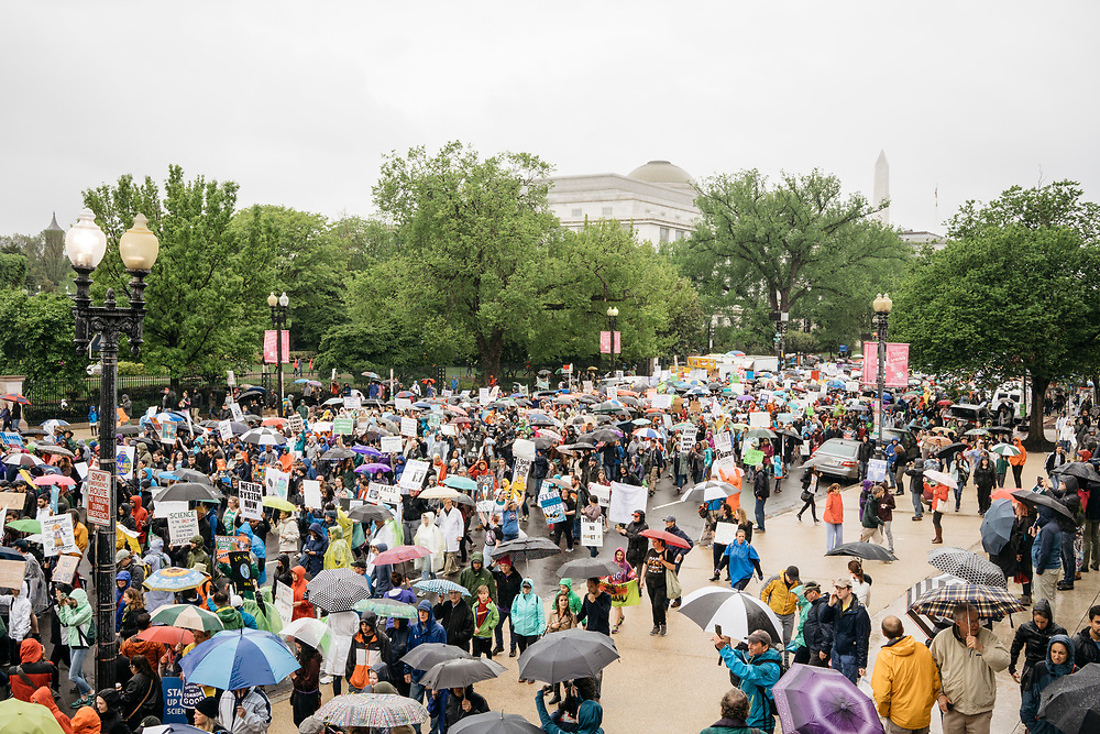Protesters march to the U.S. Capitol during the March for Science in Washington, D.C. on Earth Day 2017.