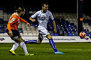 Luke Rooney of Luton Town (left) scores the opening goal against Bury during the The FA Cup match at Kenilworth Road, Luton<br /> Picture by David Horn/Focus Images Ltd +44 7545 970036<br /> 16/12/2014